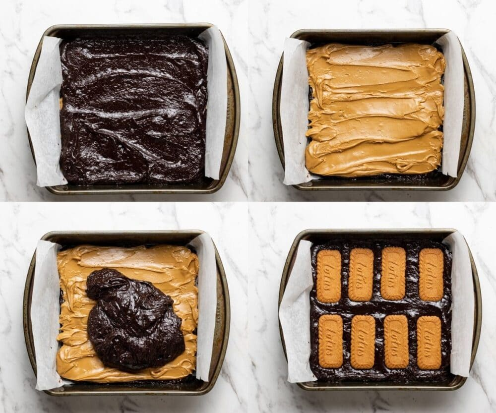 process shots showing how to make biscoff brownies