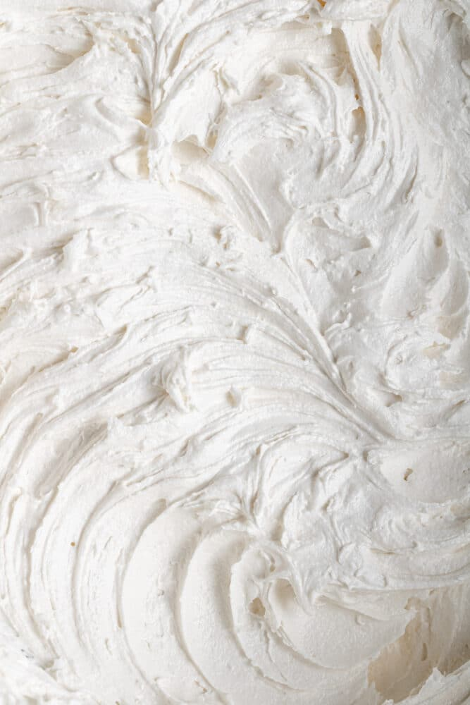close up of dairy free vanilla frosting