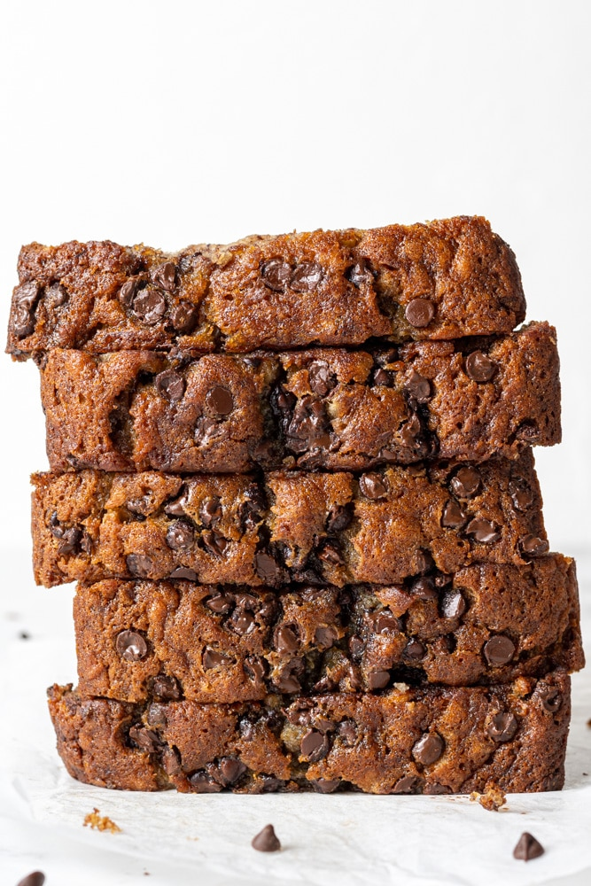 dairy free banana bread slices stacked