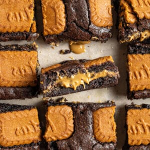 biscoff brownies sliced and shot from above with biscoff inside