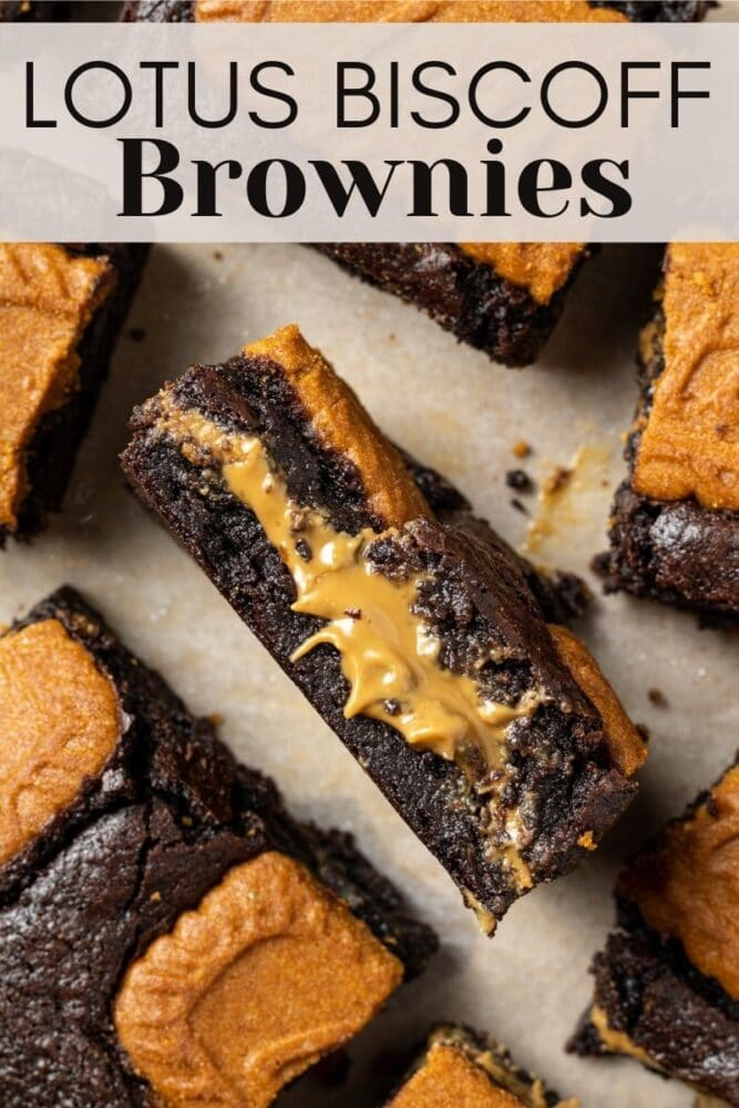 pin for pinterest of biscoff brownies