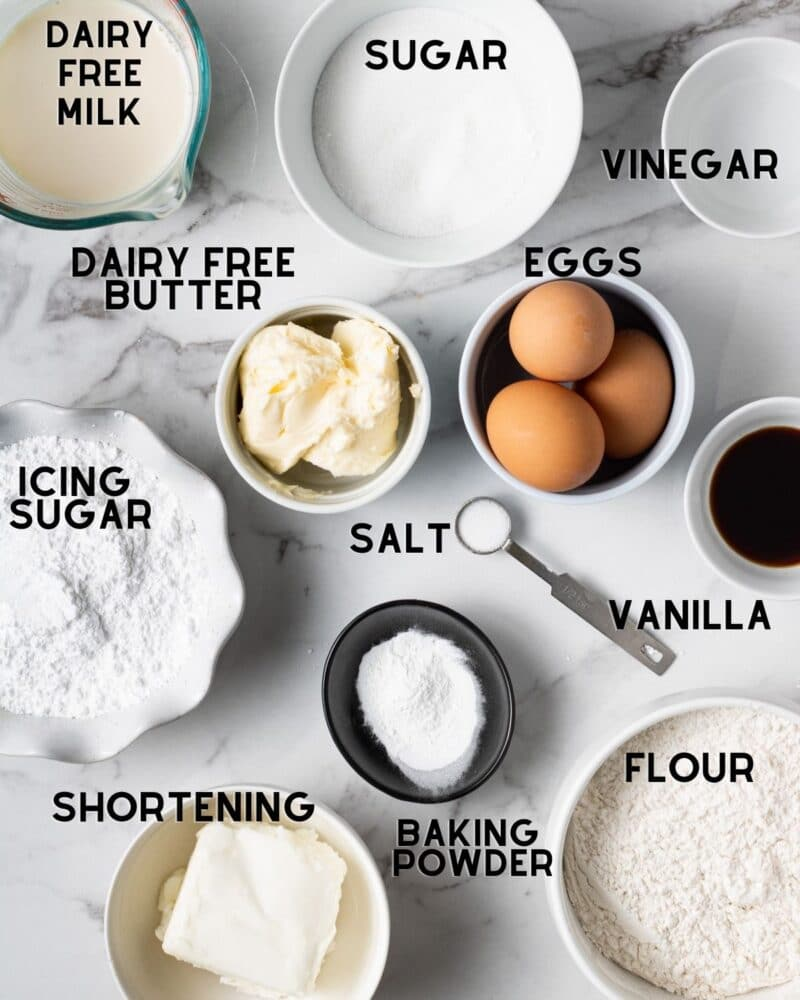 ingredients for dairy free cupcakes