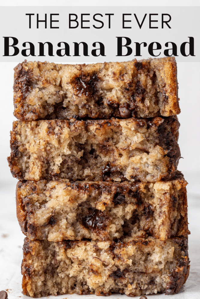 one bowl chocolate chip banana bread pin for pinterest