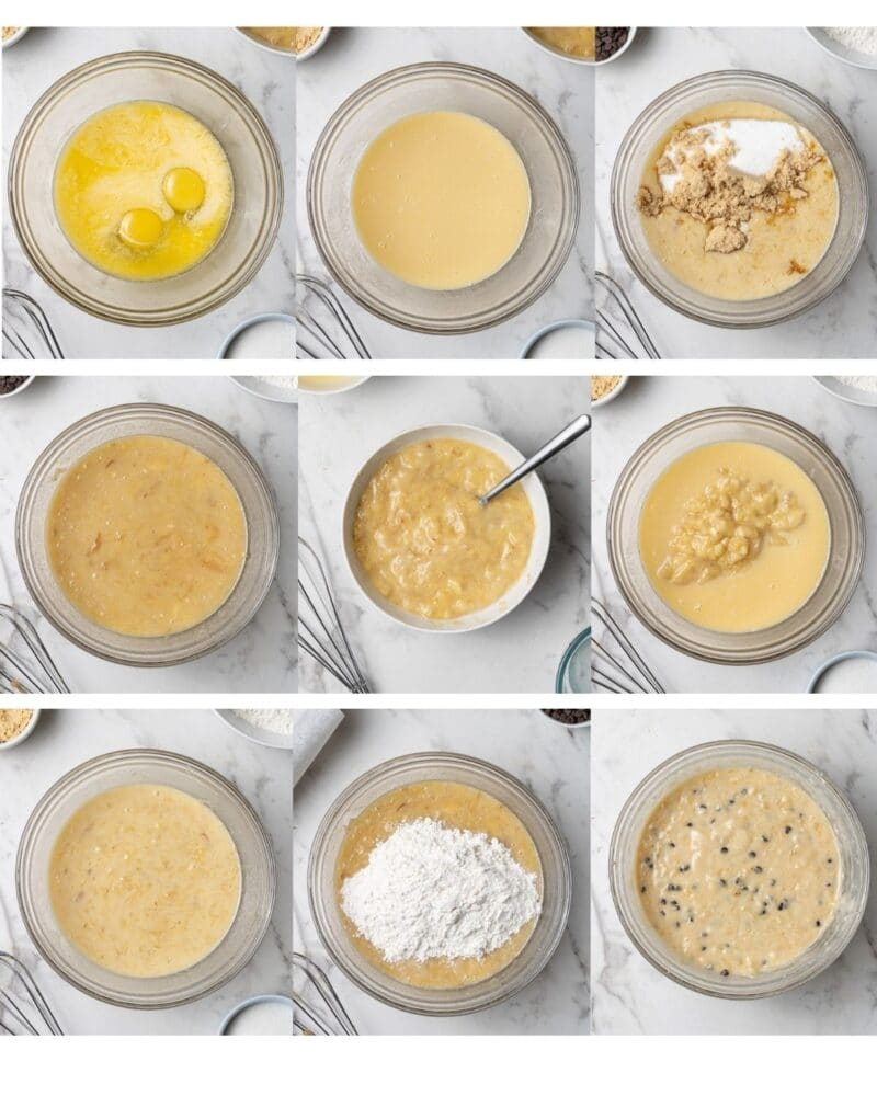 collage of process shots showing how to make banana bread