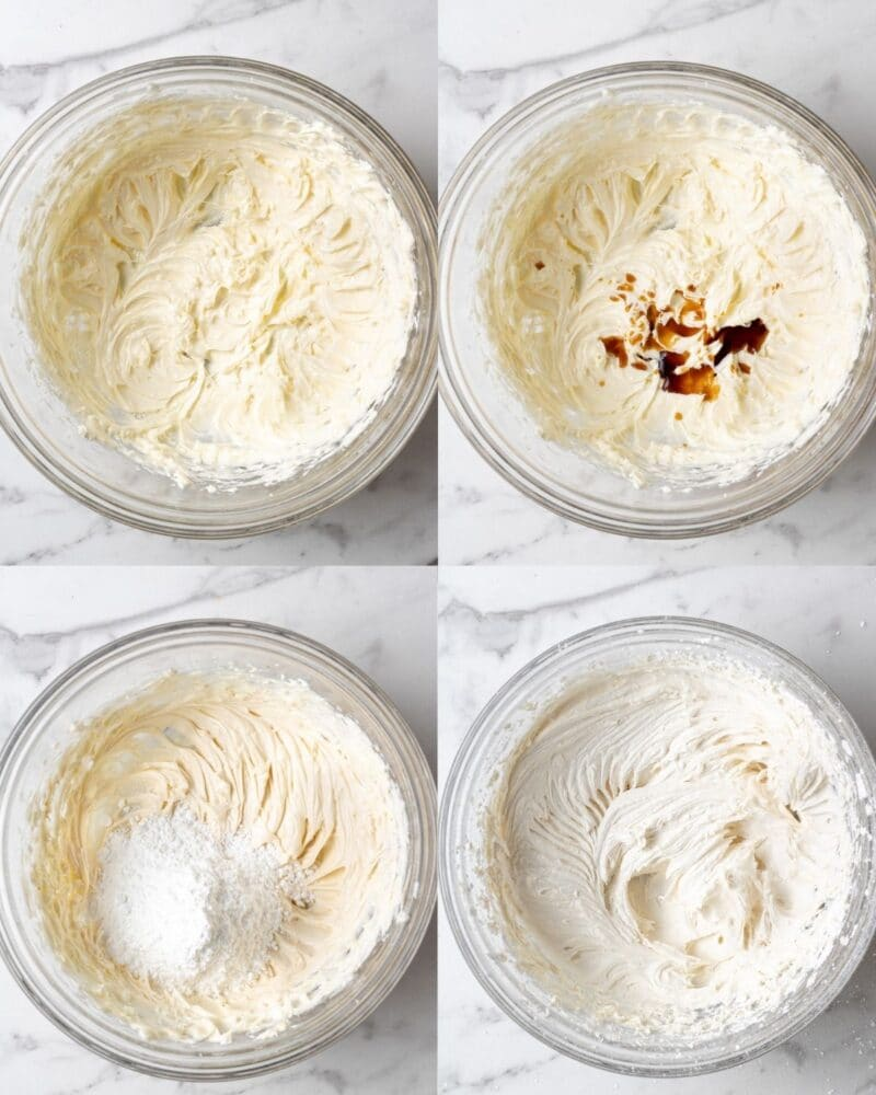 process showing how to make dairy free vanilla buttercream frosting for dairy free cupcakes