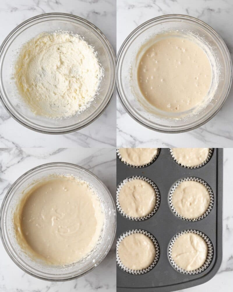 process showing how to make dairy free cupcakes