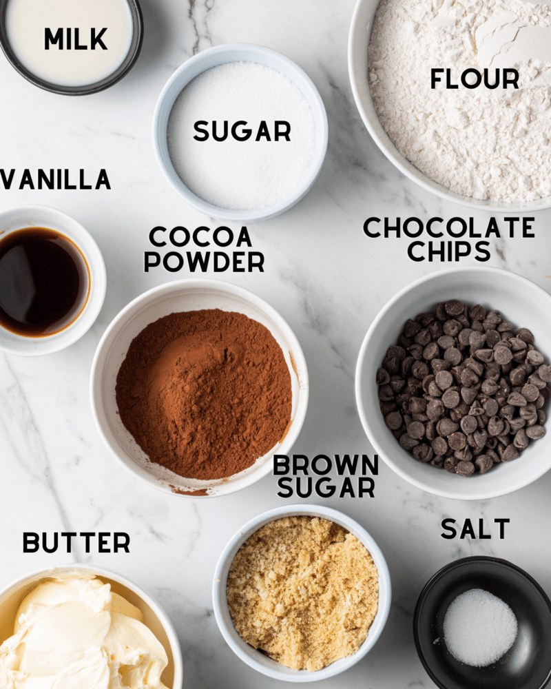 ingredients to make a cookie dough bar