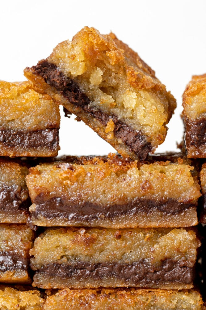 nutella blondies stacked with a bite out of it