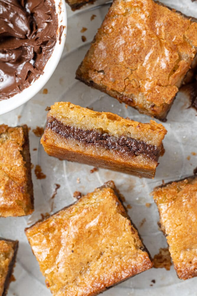 nutella blondies sliced and shot from above