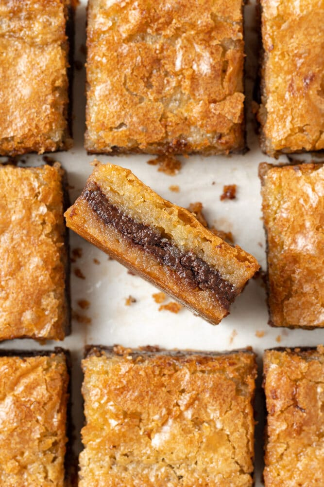nutella blondies slices and closeup shot from overhead