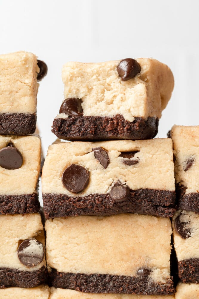 cookie dough bar stacked