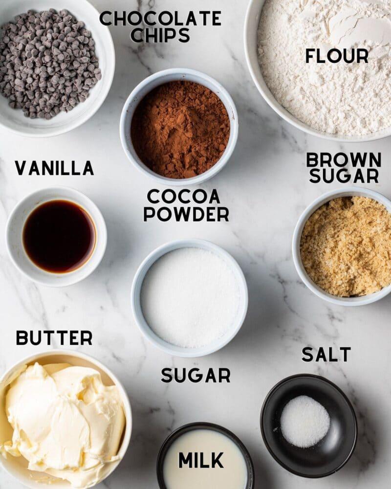 ingredients in bowls for edible brownie batter