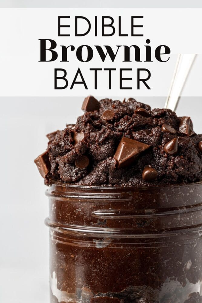 pin for pinterest with edible brownie batter