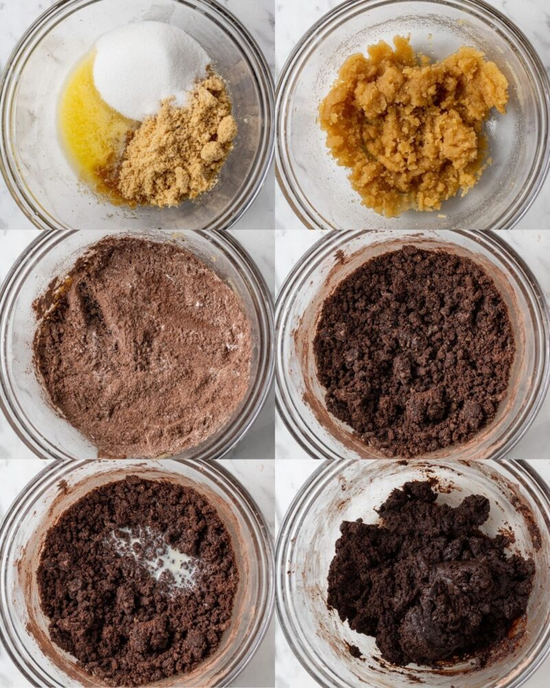 step by step instructions and process showing how to make edible brownie batter