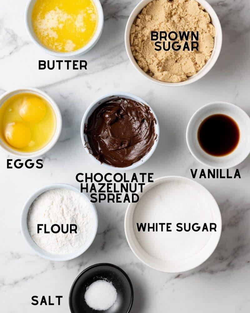 ingredients to make Nutella blondies