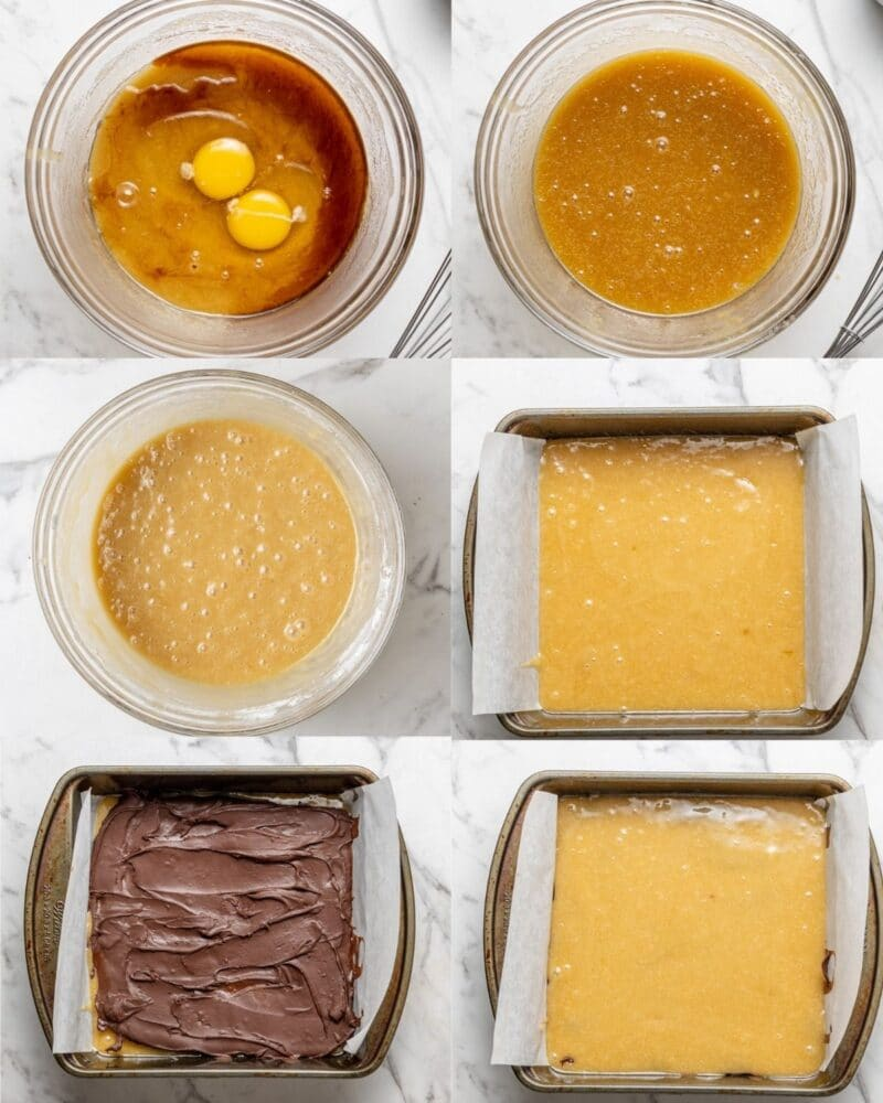 step by step process showing how to make nutella blondies