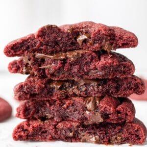 vegan red velvet cookies split in half