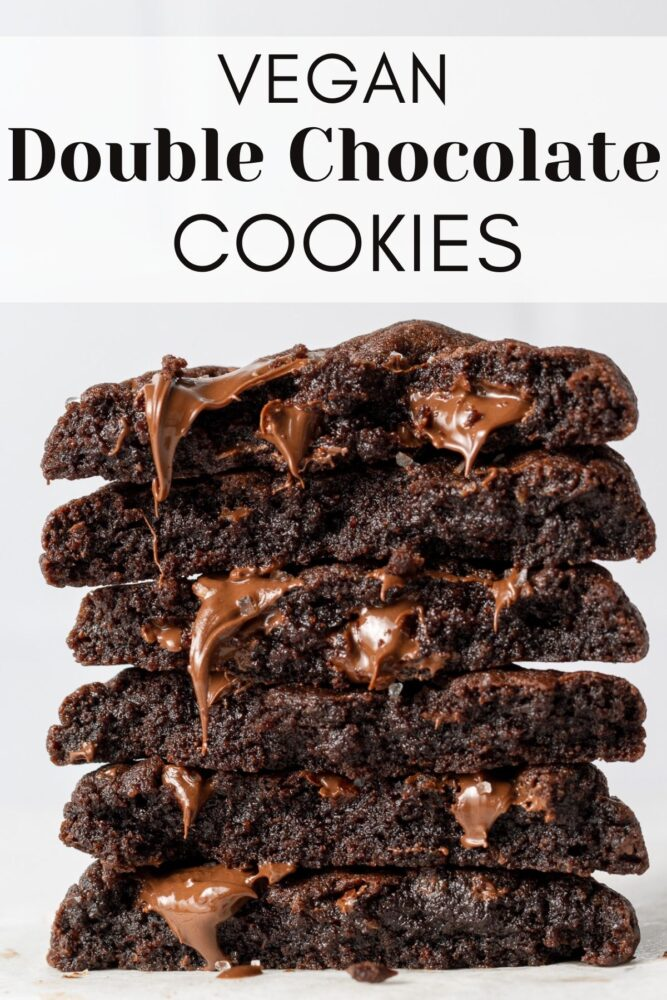 vegan double chocolate chip cookies pin for pinterest