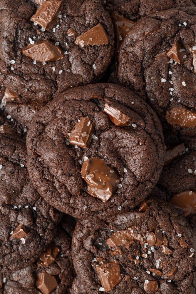 vegan double chocolate chip cookies closeup