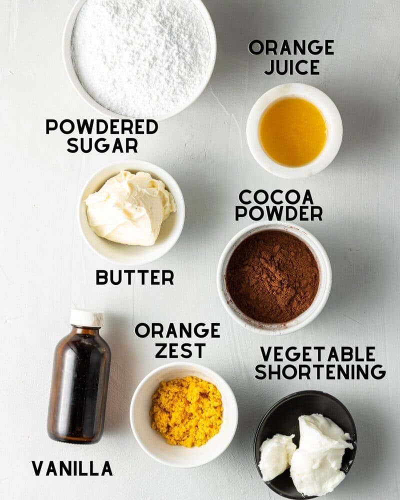 ingredients to make chocolate orange buttercream with text overlay