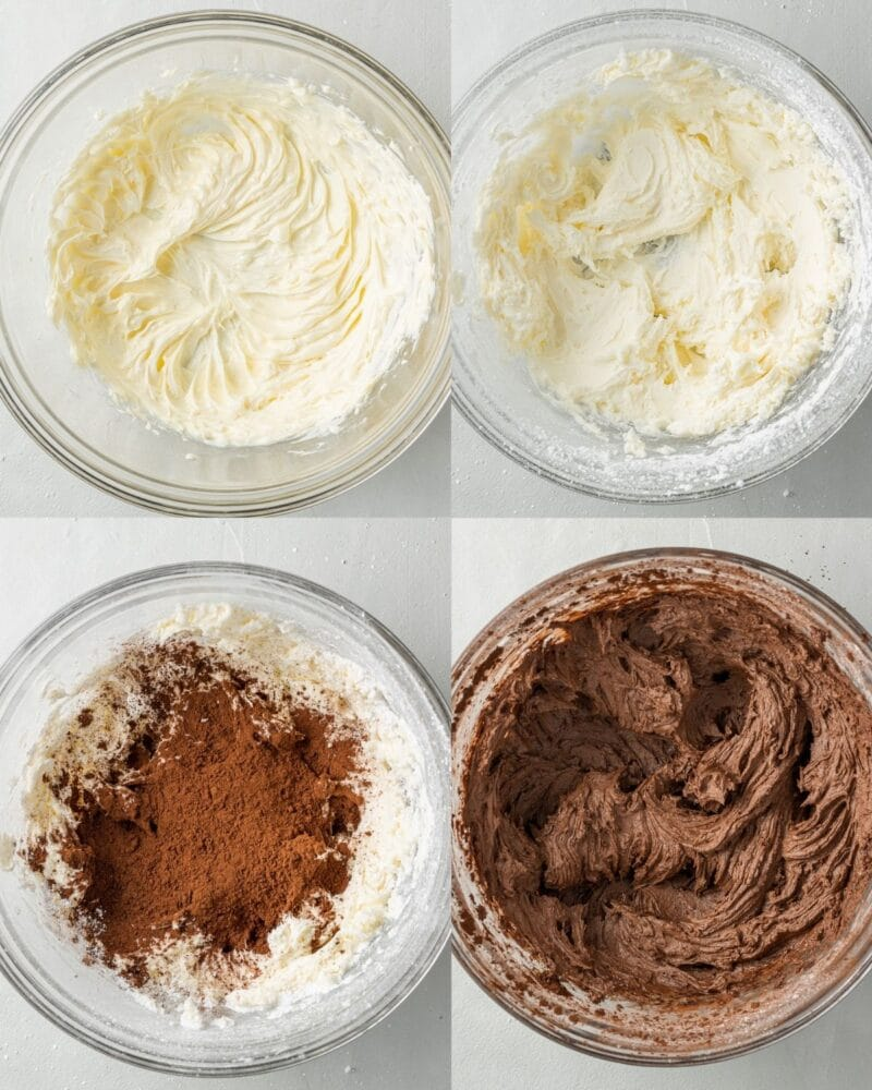 step by step instructions showing the process of how to make chocolate orange buttercream