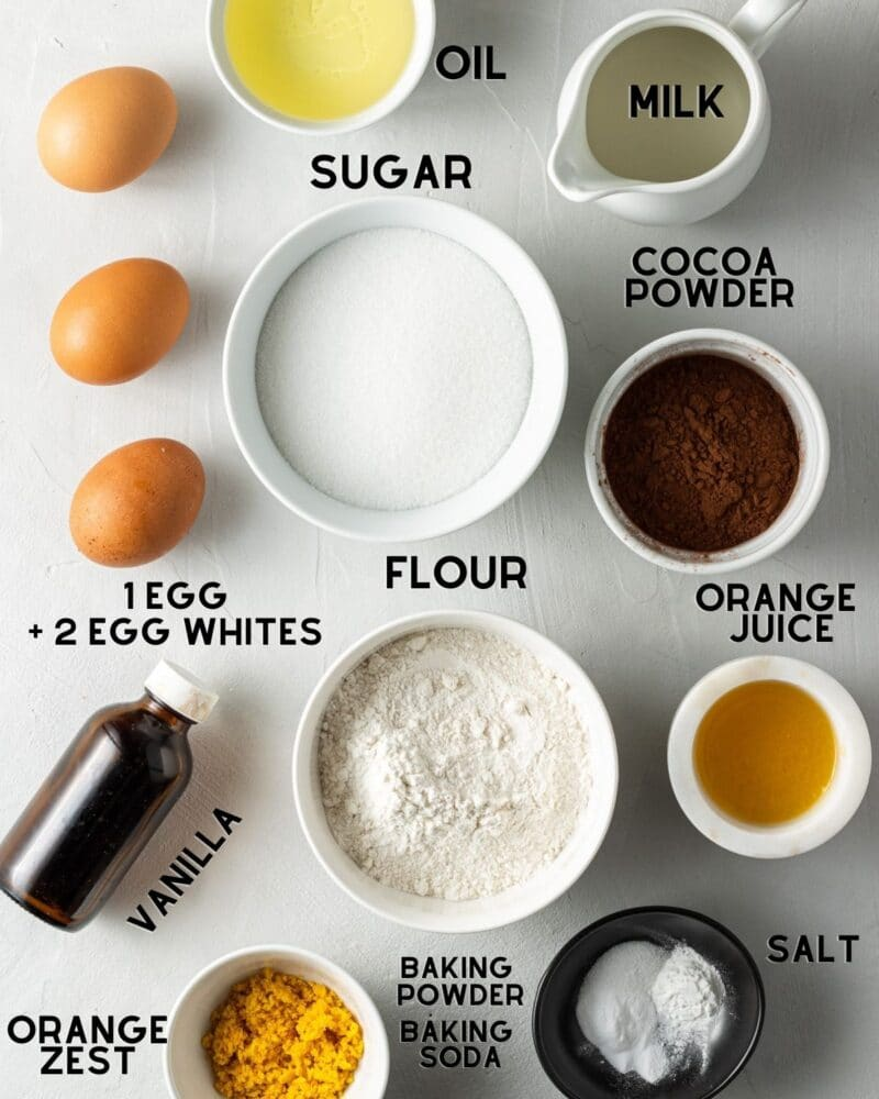 ingredients to make chocolate orange cupcakes with text overlay