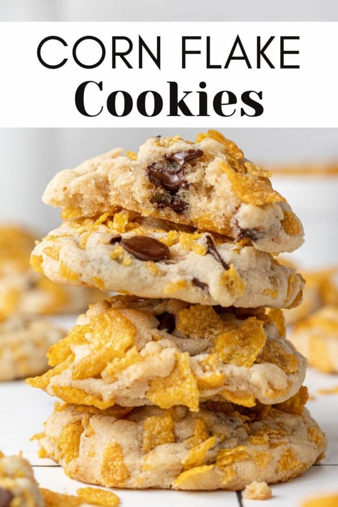 corn flakes cookies stacked on top of each other with text overlay for pinterest