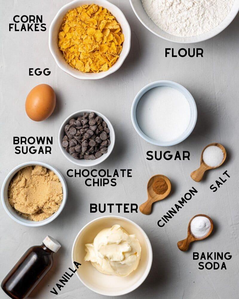 ingredients to make corn flake cookies in bowls