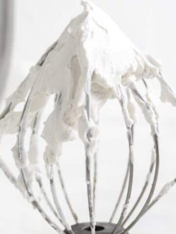 dairy free whipping cream on a wire whisk attachment