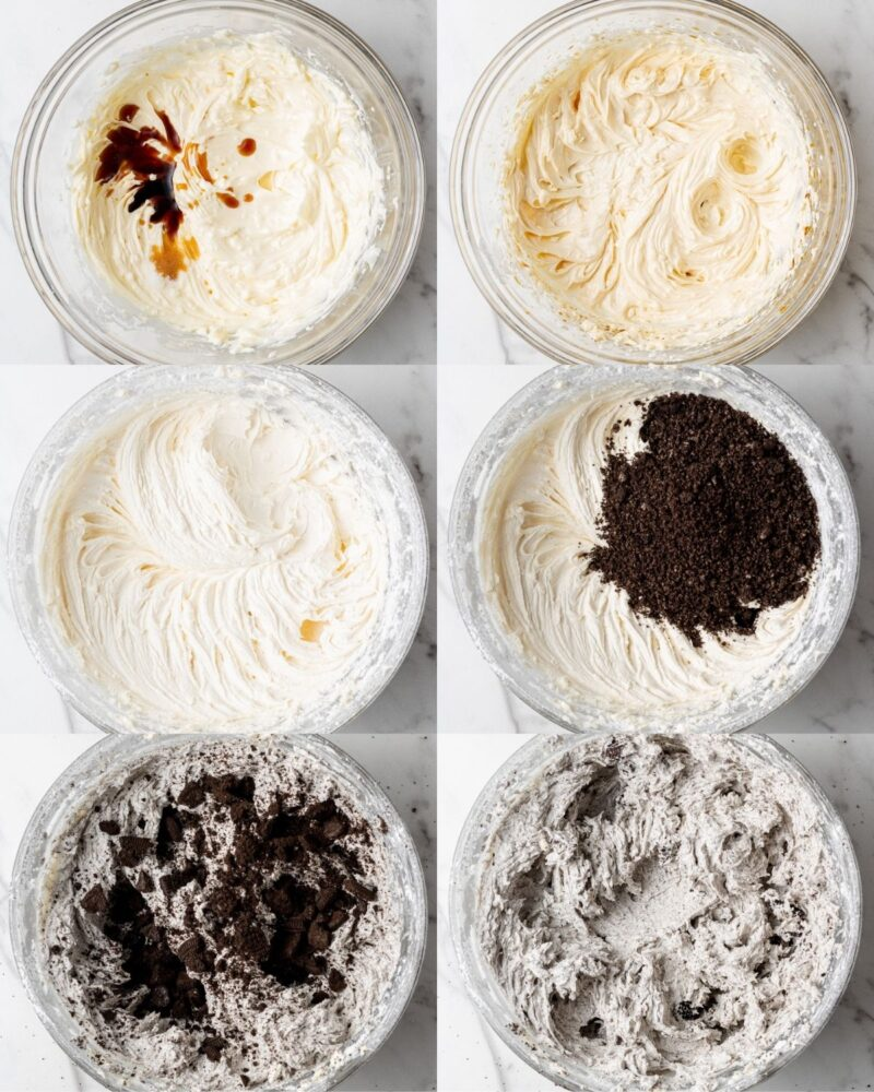 step by step instructions showing how to make vegan oreo buttercream