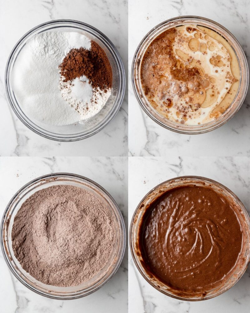 step by step instructions showing how to make vegan oreo cake