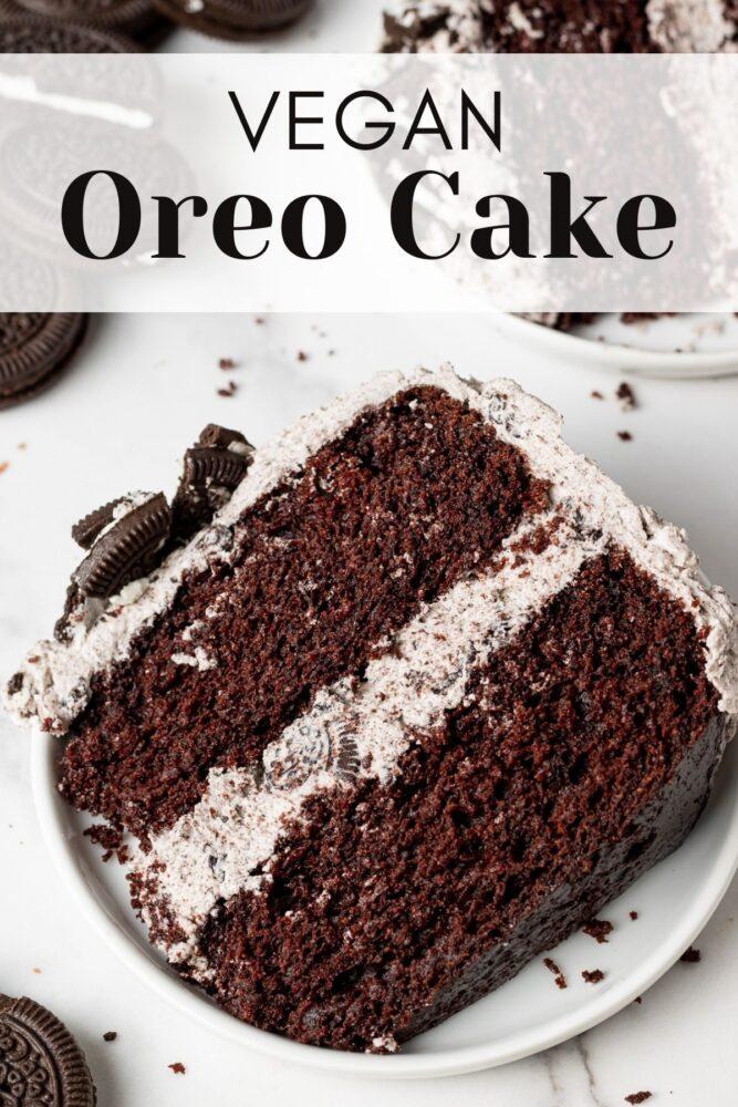 vegan oreo cake with text overlay for pinterest