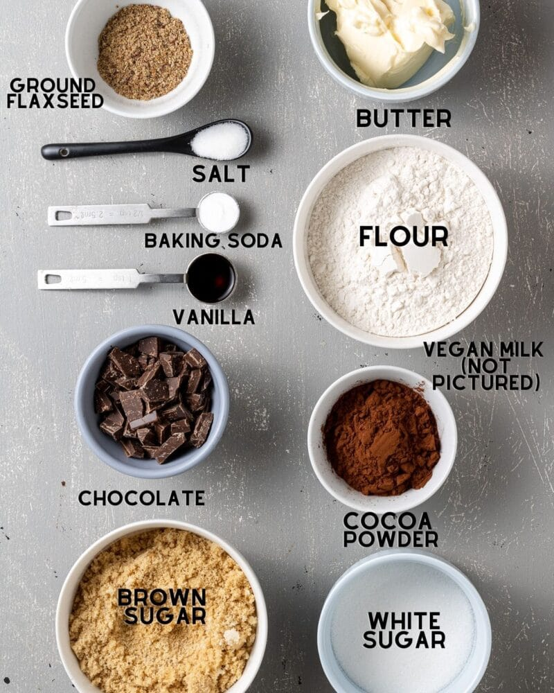 ingredients to make vegan double chocolate chip cookies labelled