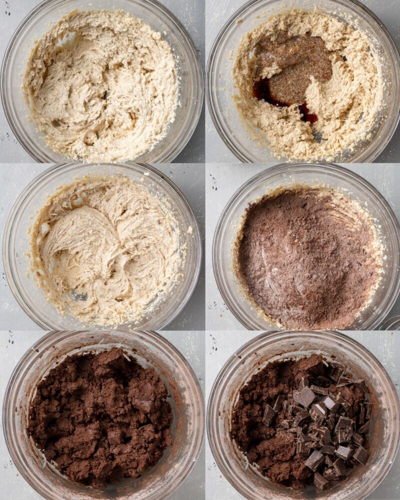 step by step photos showing how to make vegan chocolate cookies