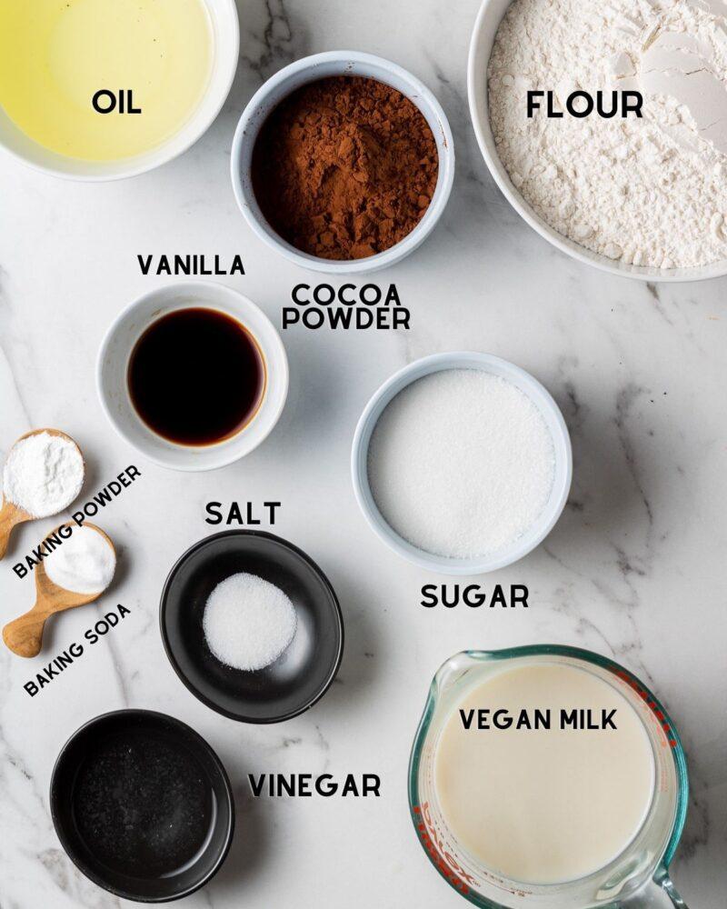ingredients to make vegan oreo cake