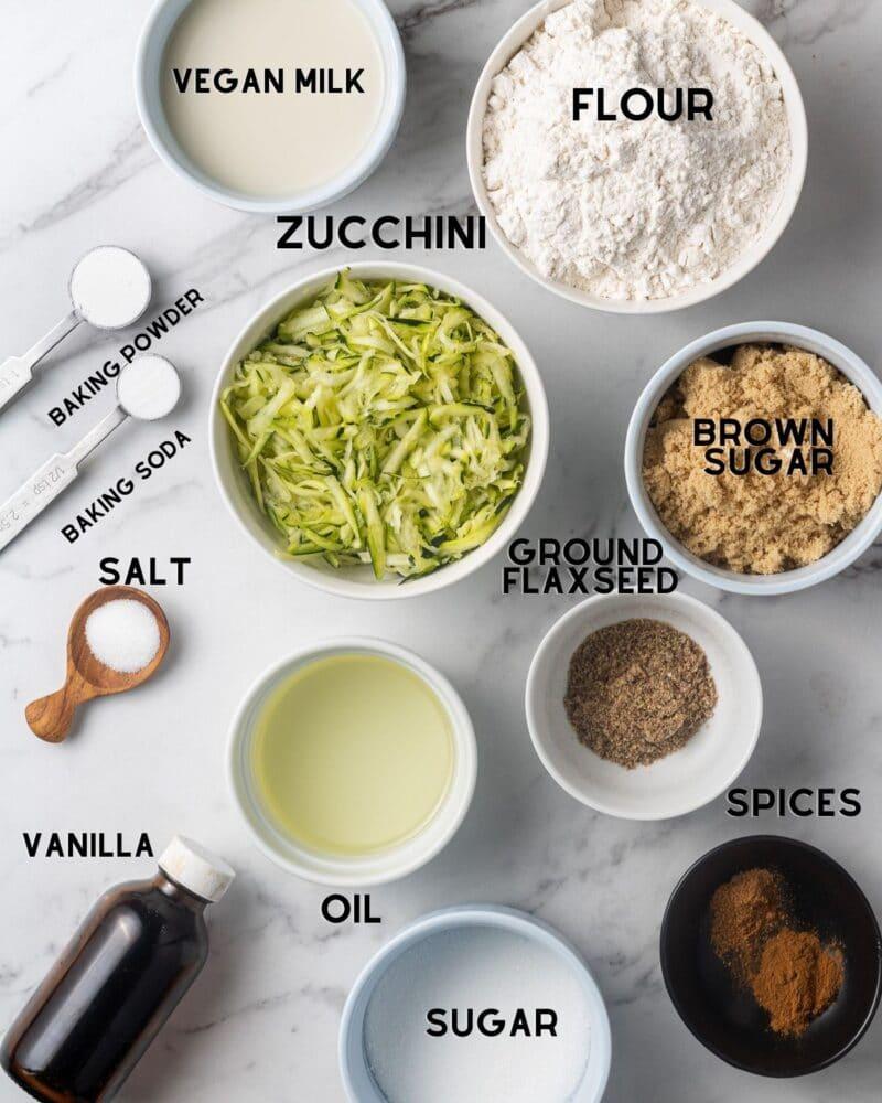 ingredients to make vegan zucchini muffins