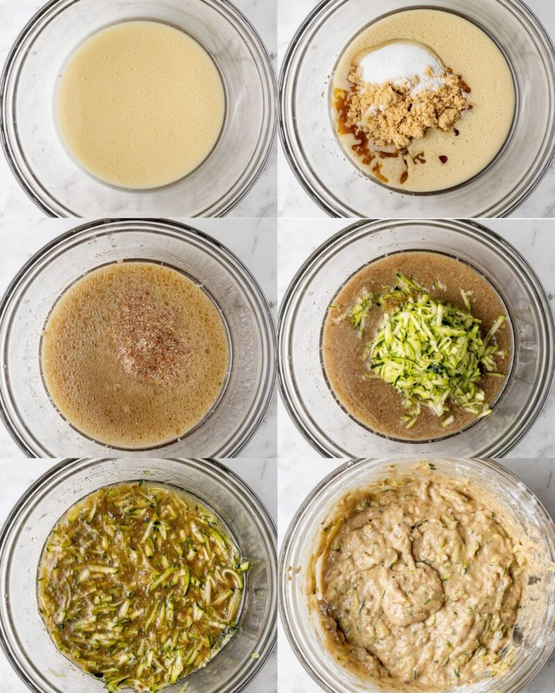step by step process showing how to make zucchini muffins
