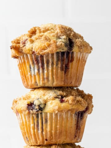blueberry muffins stacked on top of each other