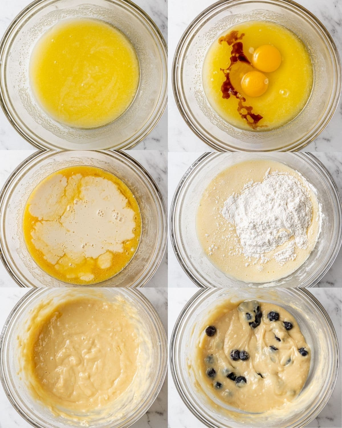 step by step process to make dairy free blueberry muffins in bowls labeled
