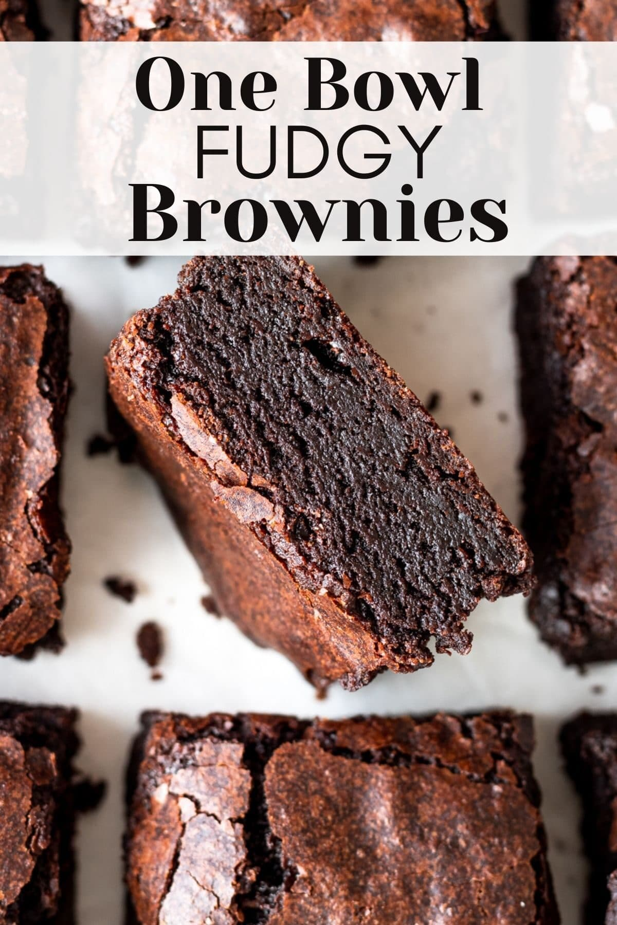 dairy free brownies sliced with text overlay for pinterest