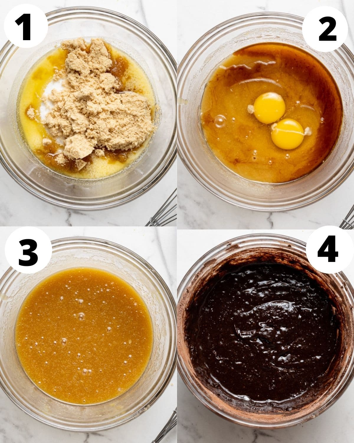 step by step process showing how to make dairy free brownies