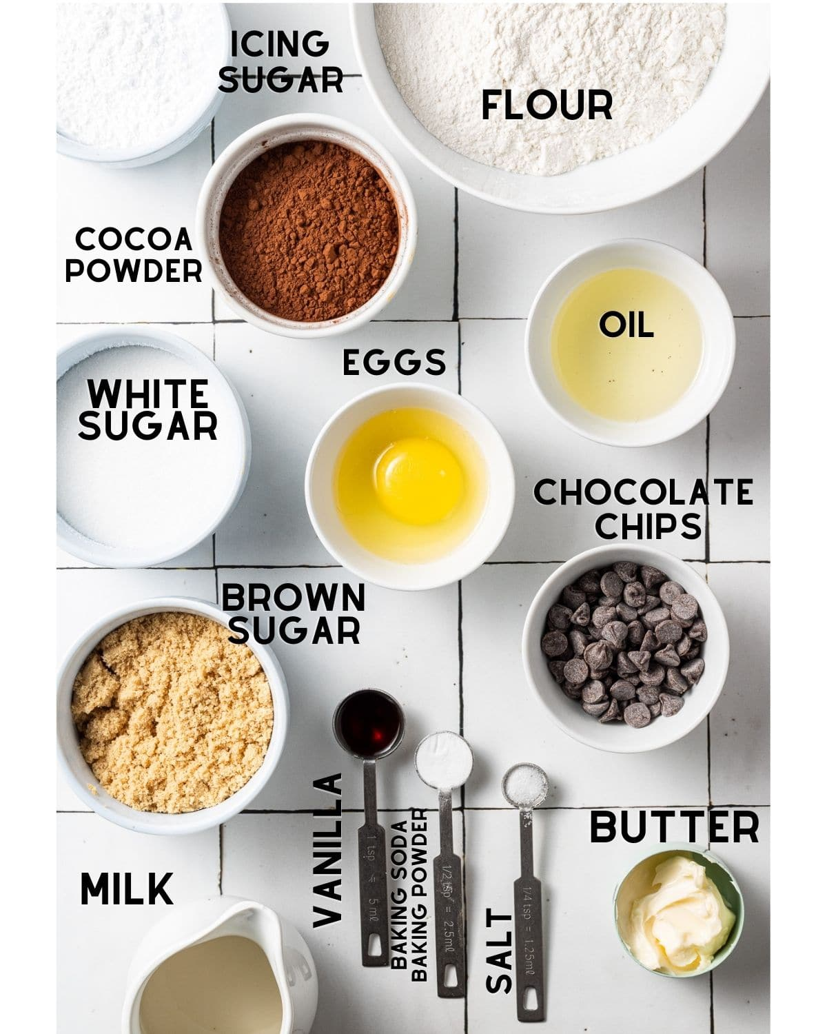 ingredients to make chocolate mini donutsin bowls with text labels