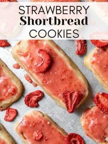 strawberry shortbread cookies web story cover with text overlay