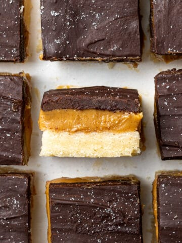 vegan millionaire bars showing the layers inside