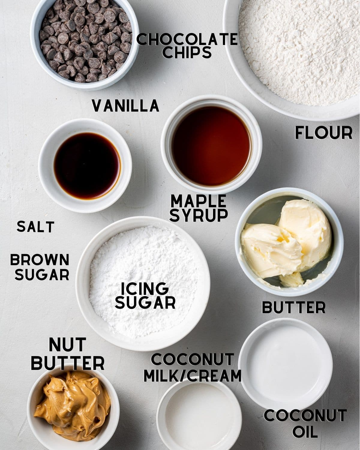 ingredients in bowls to make vegan millionaire shortbread with text overlay labels