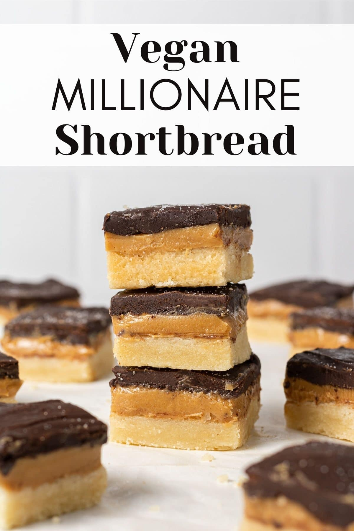 vegan millionaire bars stacked on each other with text overlay