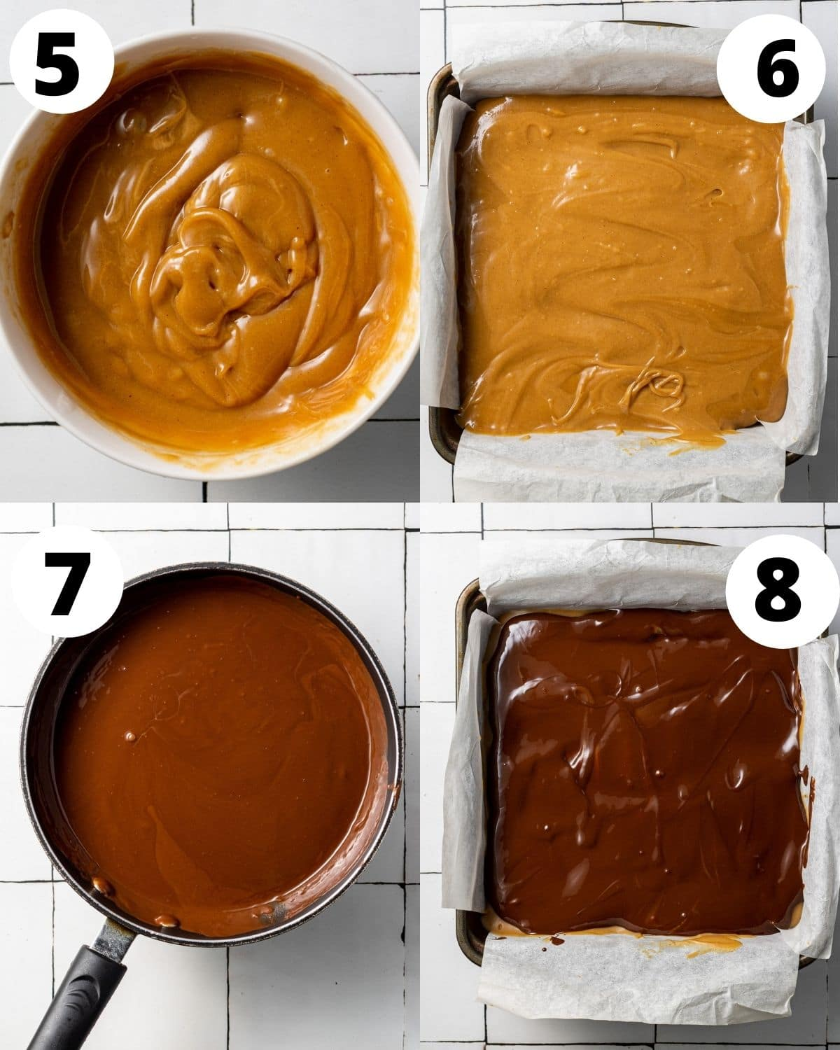 instructions showing step by step how to make vegan millionaire shortbread