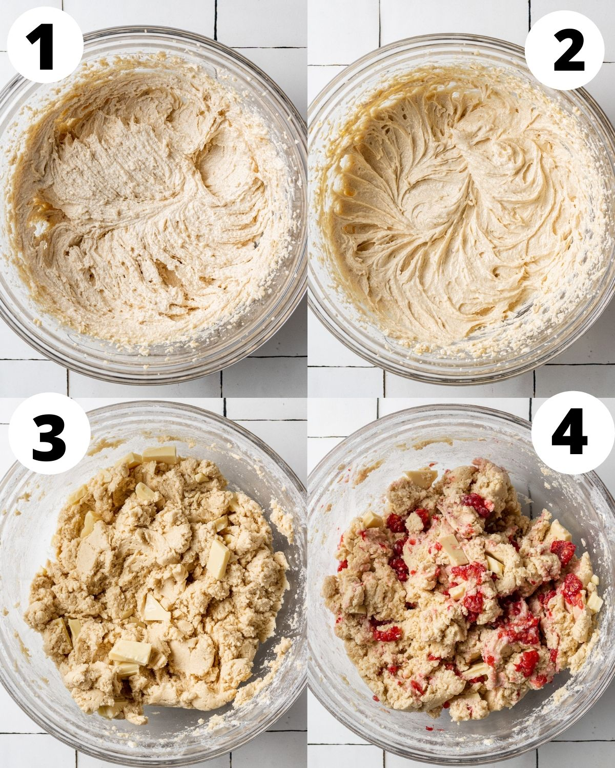 numbered step by step collage showing how to make white chocolate and raspberry cookies