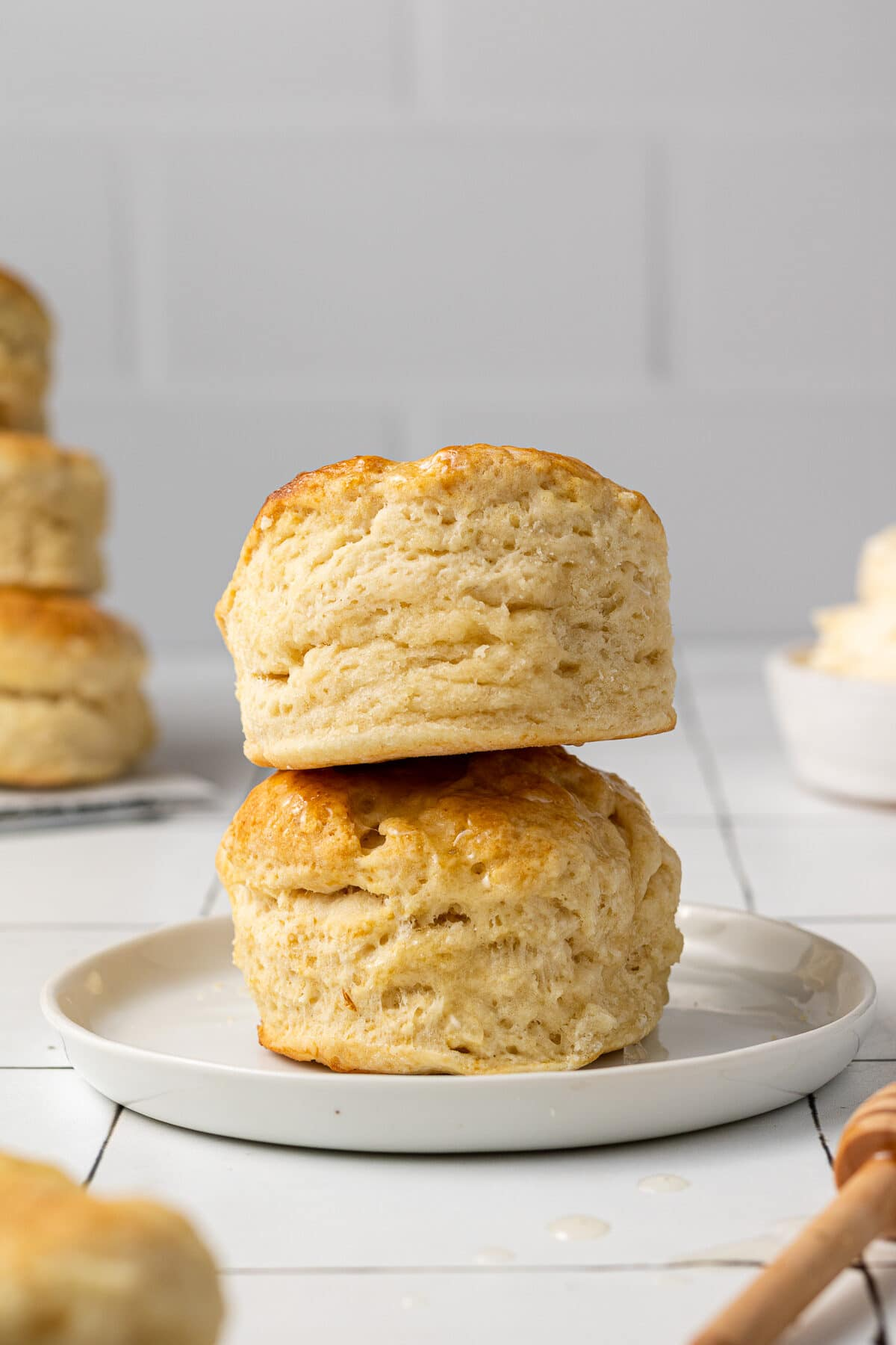 dairy free biscuits stacked on a plate