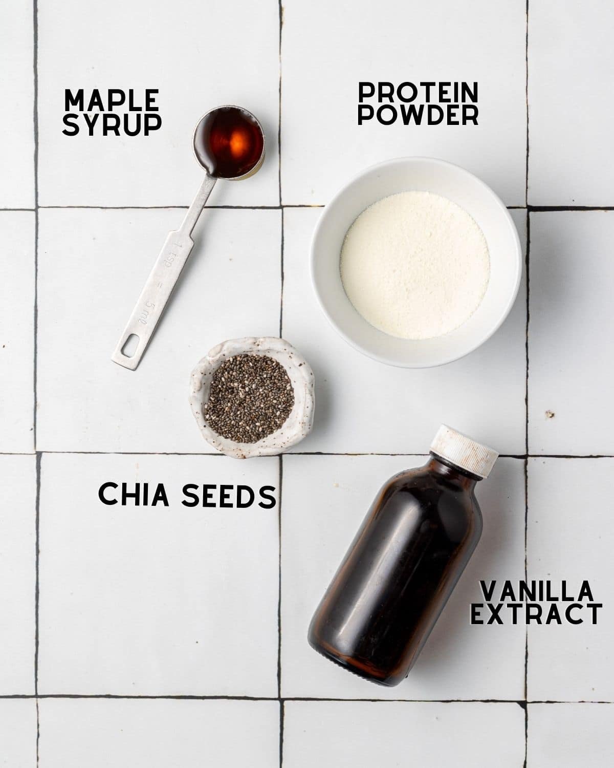 ingredients to make a blueberry banana spinach smoothie in bowls